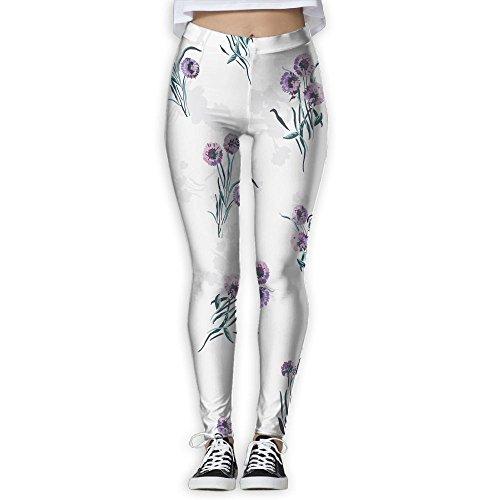 Purple Daisy Womens Stylish Dancing Yoga Pnats 3D Print Stretch Yoga Jogger (Daisies Print Scrub)