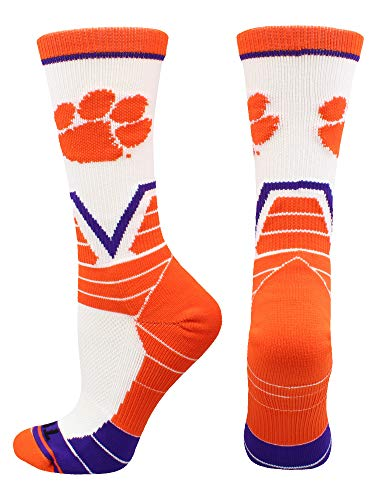 Clemson Tigers Memorial - Clemson Tigers Victory Crew Socks (White/Orange/Purple, Small)