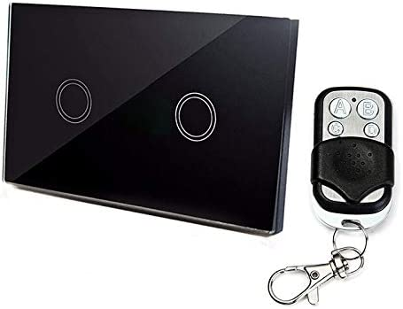 スマートホーム 120mm 2ギャング1ウェイ強化ガラスパネルウォールスイッチスマートホームライトタッチスイッチRF433リモートコントローラ、AC 110Vから240V スマートホーム (色 : Black)