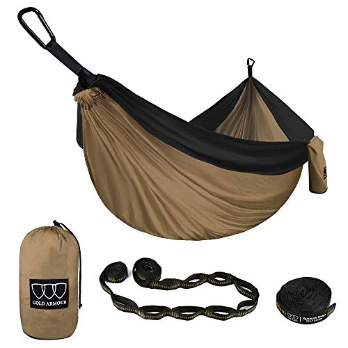 Gold Armour Camping Hammock - XL Double Parachute Camping Hammock (2 TREE STRAPS 16 LOOPS/10 FT INCLUDED) Lightweight Nylon Portable Hammock, Best Parachute Double Hammock (Khaki/Black) by Gold Armour