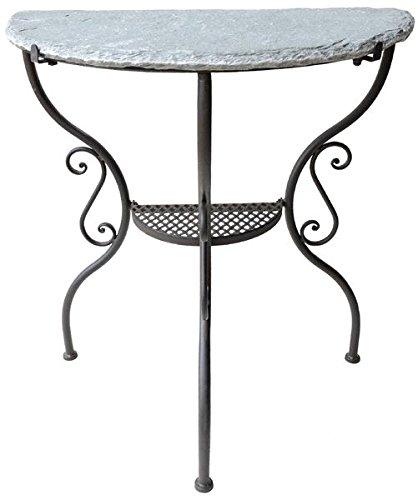 Gartentisch Wandtisch GREZZINO Eisen mit Steinplatte halbrund