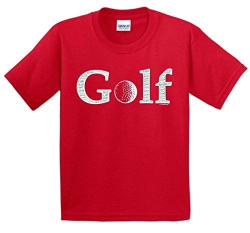 Price comparison product image Birthday Gift for Golfer Golf Word Collage Golfer Golfing Gift Youth T-Shirt Large Red
