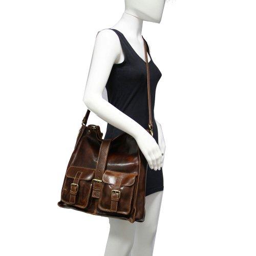 Tuscany Leather - Bolso al hombro de piel de cerdo para mujer marrón marrón
