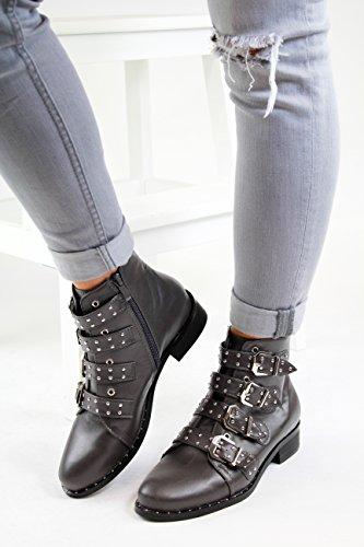New Womens Ladies Studded Ankle Boots Buckle Zip Low Heel High Top Biker Shoes Grey GggwAA3E