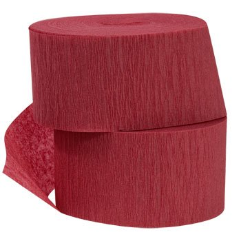 4 ROLLS Crepe Paper Streamers 290 ft Total-Made in USA (Maroon/Burgundy)