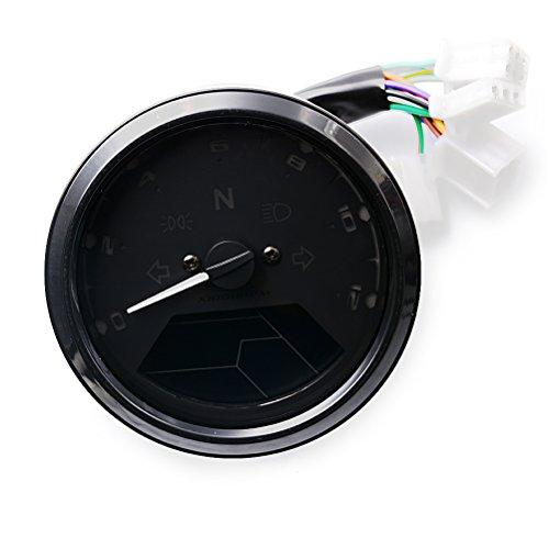 ROSENICE Motorrad-Tacho 12000 RPM LED-Hintergrundbeleuchtung Motorrad-Geschwindigkeitsmesser Tachometer -Lehre (Schwarz)