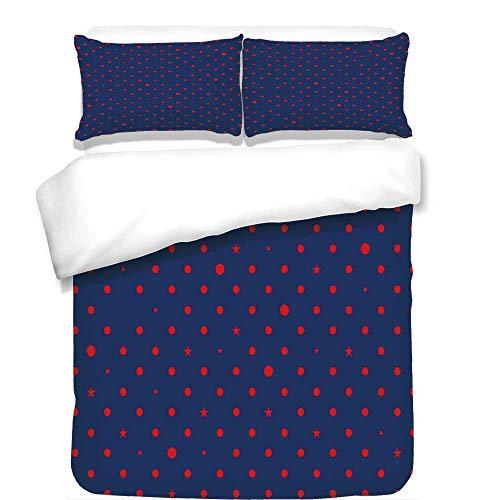 - VAMIX 3Pcs Duvet Cover Set,Navy,Polka Dots Star Figures Background Artsy Retro Style Little Circles Illustration,Dark Blue Red,Best Bedding Gifts for Family/Friends,