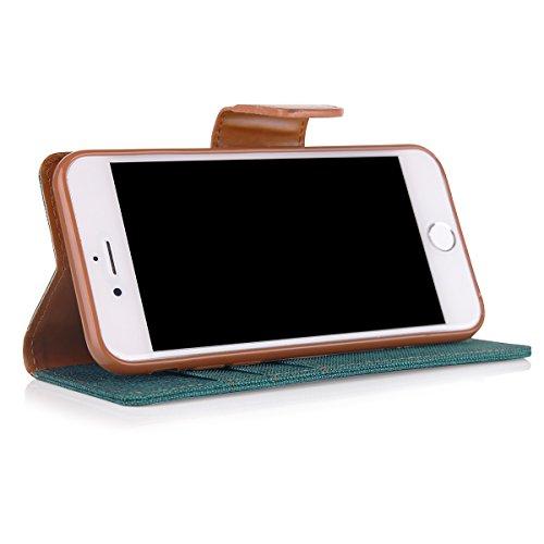 Etui de livre avec fonction de support pour iPhone 7 Vert Flip case fermeture magnetique etui avec pochettes pour cartes Porte-billets, protection canvas