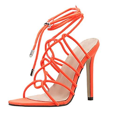 Aunimeifly Women's Microfiber High Heels Summer Stylish Crisscross Strap Sandals Casual Hollow Nightclub Stilettos Orange