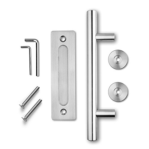 SMARTSTANDARD SHH0801STAINLESS Heavy Duty Large Rustic Flush and Pull Barn Door Handle, 12'', Stainless Steel, Simple and Easy to Install by SMARTSTANDARD (Image #1)