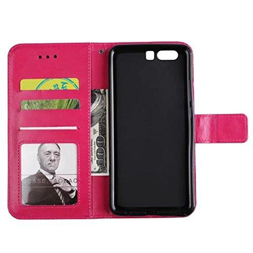 YAJIE-Carcasa Funda Para Huawei P10 en relieve medio diseño de flores [correa para la muñeca] Premium PU cuero billetera bolsa Flip Stand caso ( Color : Rose Gold ) Rose