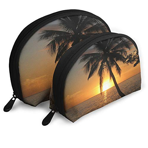 Makeup Bag Sunset With Coconut Palm Tree Portable Shell Clutch Pouch For Mother Party 2 Pack