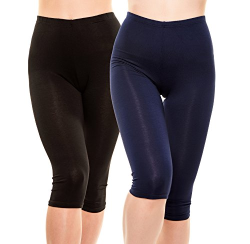 Issa Plus Yoga Capris - Yoga Leggings - Workout and Yoga Pants for Women with Plus Size (L, Black & (Petite Stretch Seersucker)