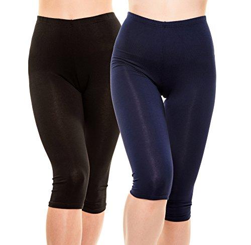Issa Plus Yoga Capris - Yoga Leggings - Workout and Yoga Pants for Women with Plus Size (L, Black & (Petite Stretch Seersucker)