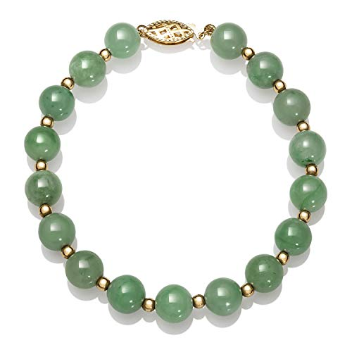 14k Gold Natural Green Jade Bead Bracelet, 7.5