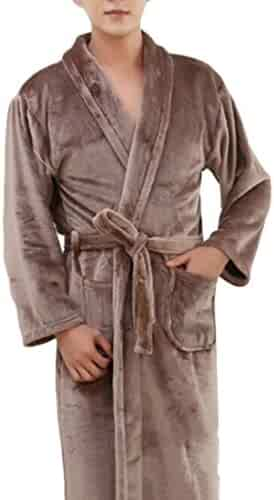 c7d22c832b Pluszing Men s Shawl Collar Warm Spa Pure Color Flannel Long Sleeve Bathing  Sleepwear Robes