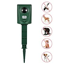 Decdeal Ultrasonic Animal Repeller Outdoor Animals Control Repellent for Repelling Cats Dogs Birds Bats Raccoons Rodents PIR Motion Activated
