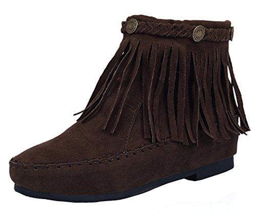 YE Damen Flache Wildleder Stiefeletten mit Reißverschluss und Fransen  Bequeme Short Ankle Boots Herbst Schuhe Dunkelbraun 3901df2fdc