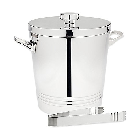 Top Shelf Silver Stainless Steel Double Wall Ice Bucket with Tongs