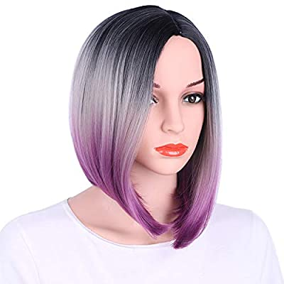 aSulis Ombre Wigs Short Bob Wigs Purple Colorful Party Wig Synthetic Daily Wig for Women 13""