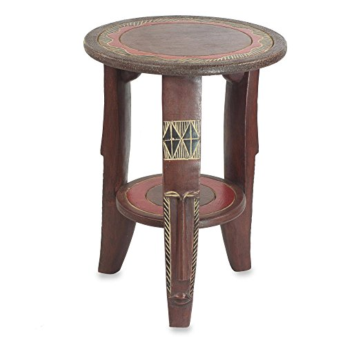 NOVICA Decorative Wood Accent Table, Red, Friendly Circle'