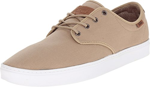 Khaki Mens Shoes - Vans Ludlow T&L Khaki White Mens Fashion Skateboarding Dress Shoes (Medium/6.5 D(M) US)