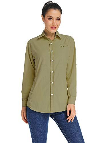 (Women's Quick Dry Sun UV Protection Convertible Long Sleeve Shirts for Hiking Camping Fishing Sailing #5024,Dark Khaki,M)