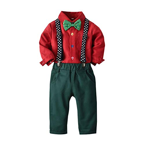 Shusuen Baby Boys Clothes Sets Bow Tie Shirts + Suspenders Pants + Vests 3pcs Toddler Boy Gentleman Outfits Suits