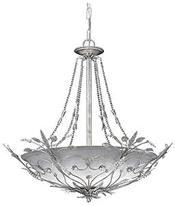 Primrose Bowl Chandelier, 6-LIGHT, SILVER LEAF