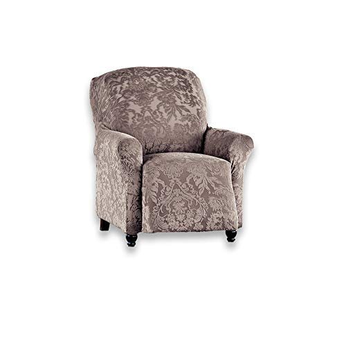 Collections Etc Elegant Stretch Slipcover Tone-on-Tone Medallions Furniture Protector Cover, Taupe, Recliner (Medallion Stretch)