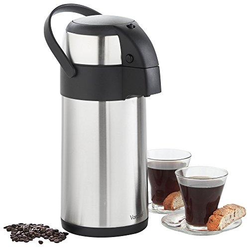 VonShef – Termo con Bomba de Aire para Servir y Cuerpo de Acero Inoxidable para te, cafe, Agua Caliente o Sopa (3l)