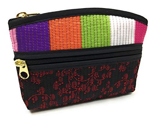 - Bag FabCloud mini Rainbow floral black bright by WiseGloves, pocket cosmetic make up pouch bag handbag accessory