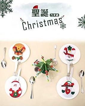 Natale decorazione per tavolo 8pcs Portaposate Costume da Babbo Natale