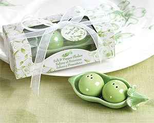 Two Peas in a Pod - Ceramic Salt & Pepper Shakers in Ivy Print Gift Box, 96