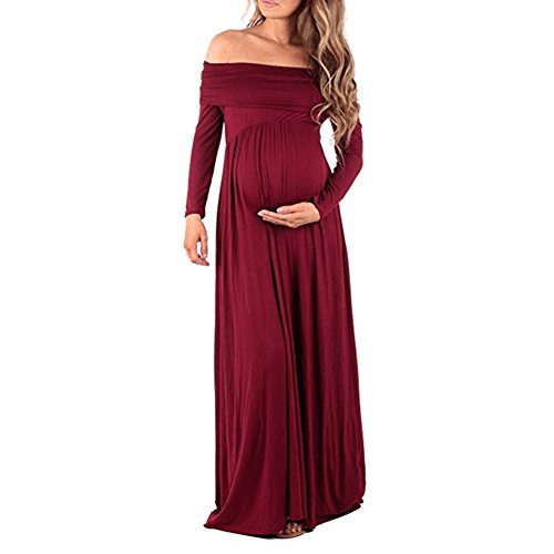 Pregnant Women Off Shoulder Long Sleeve Maternity Dress Baby Shower Maxi Gown Photography Dress for Photo Shoot Burgundy