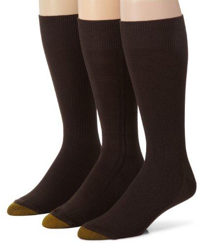 Gold Toe Men's 2405S Crew Fashion Patterned Dress Sock, Bark, Sock Size: 10-13/Shoe Size:9-11
