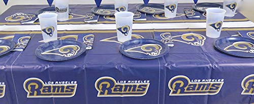 LOS Angeles Rams, 4th of July Barbecue 49 pieces Party set, Tablecloth,16 plate, 16 napkins, and large plastic 16 cups.]()