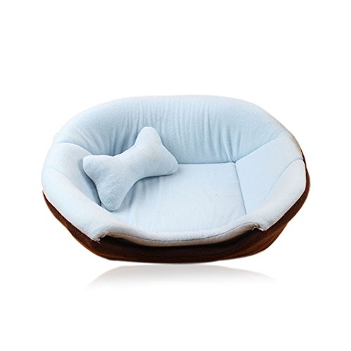 Giveme5 Cozy Pet Dog Cat Cave Mongolian Yurt Shaped House Bed Sofa with Removable Cushion inside (45X40X35cm, Sky Blue)