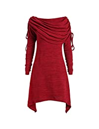 Women's Knitted Dress Lace Ruffle Long Sleeve Irregular Blouse Top Plus Size