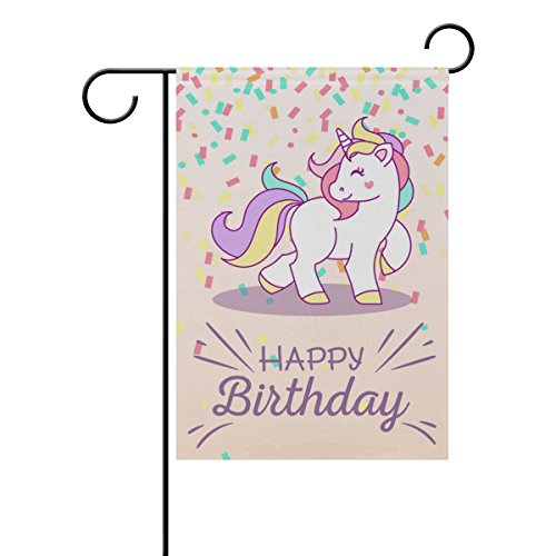 - Hokkien Birthday Background with Unicorn Garden Flag Banner 12 x 18 Inch Decorative Garden Flag for Outdoor Lawn and Garden Home Décor Double-Sided