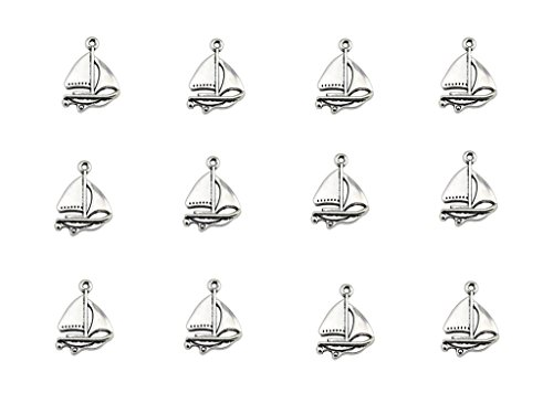 Kinteshun Sailboat Sailing Ship Charm Pendant for DIY Jewelry Making Accessaries(60pcs,Antique Silver)