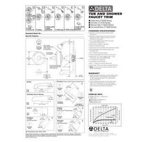 Delta T13020-DPE Monitor 13 Series Valve Trim Only, Chrome