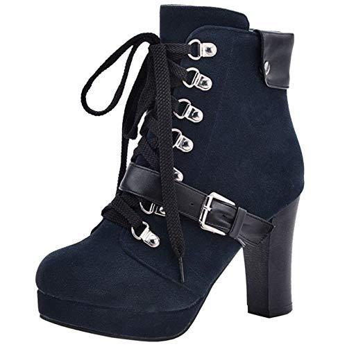 Taoffen Bleu Femmes Bottes Motardes Lacets 2 Classique qUxpTB1qw