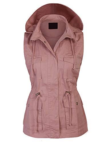 KOGMO Womens Military Anorak Safari Utility Vest with Hood-3X-MAUVE ()