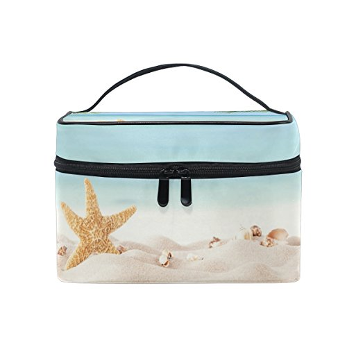 KUWT Starfish and Seashell in Beach with Palm Leaf Women Travel Cosmetic Bag Portable Makeup Train Case Toiletry Bag Beauty Organizer