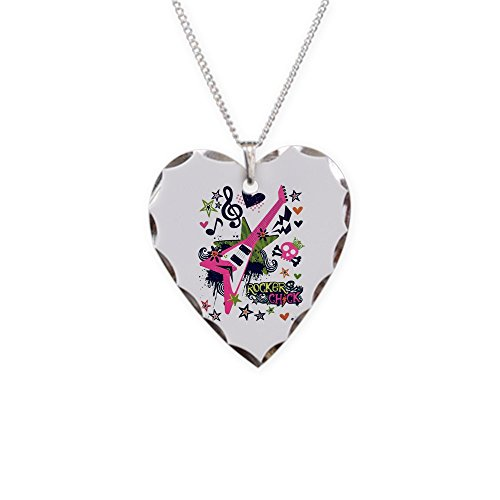 (Necklace Heart Charm Rocker Chick Guitar Treble)