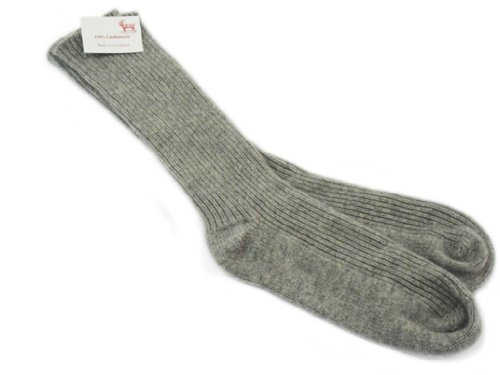 Oxfords Cashmere Pure Cashmere Ladies Bed Socks, Grey -On...