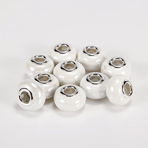 BRCbeads Top Quality 10Pcs Silver Plate White Color Porcelain Murano Lampwork European Glass Crystal Charm Beads Spacers Fit Troll Chamilia Carlo Biagi Zable Snake Chain Charm Bracelets. (Lampwork White Charms)