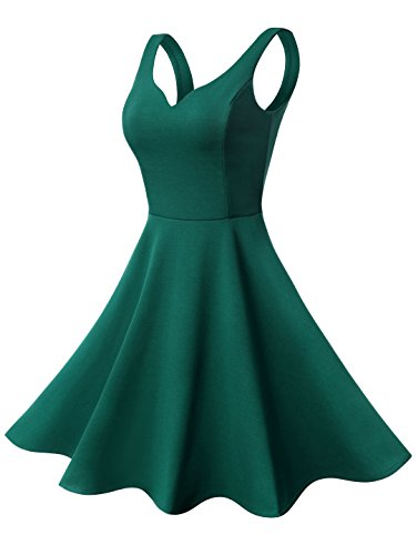 - Missufe Women's Sleeveless Sweetheart Flared Mini Dress (Medium, 03-Green)