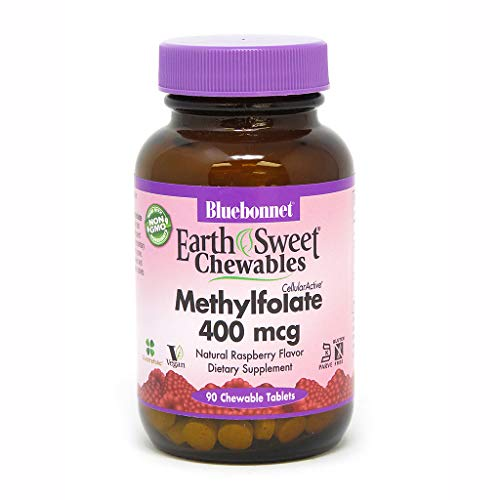 Bluebonnet Earth Sweet Cellular Active Methylfolate 400 mcg Chewable Tablets, 90 Count 400 Mcg 90 Tablets